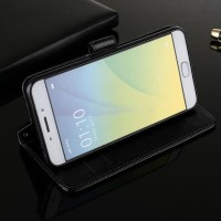 New Casing HP VIVO V7 Flip Wallet Leather dompet Hitam