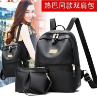 Ransel 2in1 Import Tas Dompet Clutch Selempang Backpack Black Wanita