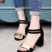 Jual High heels keren CASIE HEELS SM140 Hitam gold Sepatu heels murah kece Murah