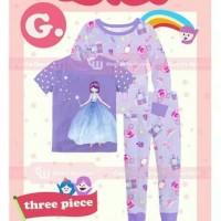 Piyama Baju Tidur Anak Perempuan Cewek 3in1 GW 272 G Princess Ungu