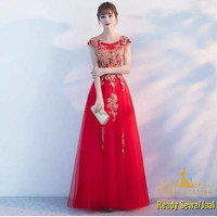 Sewa Jual Gaun Pesta merah gold surabaya