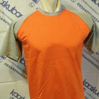 Kaos Raglan Pendek Badan Orange Lengan Abu Misty