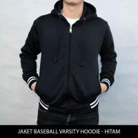 [BIG SIZE] Jaket Polos Baseball Varsity Hoodie - Hitam XXL-XXXL