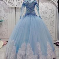 Gaun baju kebaya pengantin barbie baby blue model atasan 3D
