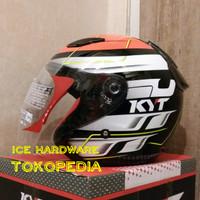 Helm Motor Halfface KYT DJ Maru DJMaru #13 Orange / Red Fluo Original