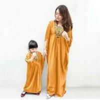 Couple gamis yelow motif gold syar'i kaftan ibu dan anak mom and kids