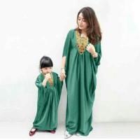 Couple gamis green motif gold syar'i kaftan ibu dan anak mom and kids