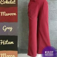 Celana Kulot Milano/Crepe Merah Maroon (Panjang) Pinggang Karet