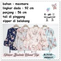 Baju Atasan Lengan Balon Tunik Blouse Wanita Import AB58627 Pink Blue