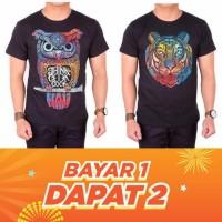 Buy 1 Get 1 Kaos Pria Pendek Hitam Black Owl Lion Baju Kaos Distro