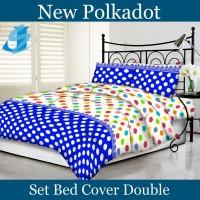 Tommony Bed Cover Double - Polkadot Biru