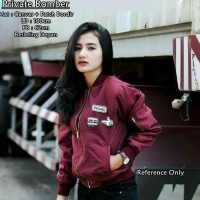 PRIVATE BOMBER / JAKET CANVAS / JACKET WANITA / OUTER / SWEATER HIJAB