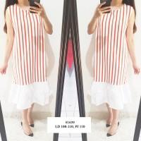 1639 Dress Sailor Stripe Garis Ready Stock Bangkok Scuba Murah Fashion