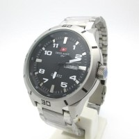HOT SALE ! Swiss Army Analog Jam Tangan Pria Silver Hitam 1475M