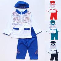 Baju Muslim Koko Anak Laki Cowok Putih Celana Warna Bordir Wajik 1-3th