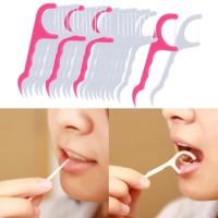 Tusuk gigi benang 1 set isi 24 pcs - Dental floss toothpick
