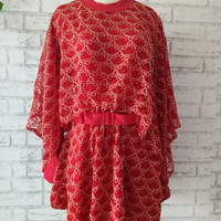 Baju wanita/blouse Cape brokat big size/baju pesta jumbo/baju brokat