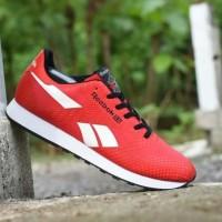 Sepatu Casual Reebok Classic Grade Ori Merah Putih Sport Kets Pria