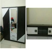 Paket Lemari 3 pintu cermin dan meja TV