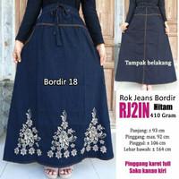 Jual Rok jeans panjang variasi bordir cantik hitam Murah