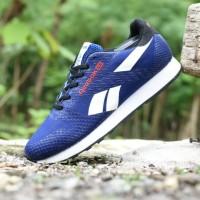 Sepatu Casual Reebok Classic Grade Ori Biru Putih Sport Kets Pria