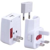 Travel Adaptor Universal EU AU UK US Plug dengan Port USB - Putih