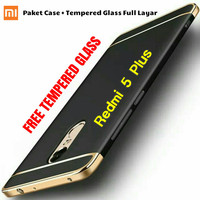 XIAOMI REDMI 5 PLUS HARDCASE BUMPER NEW CASE + TEMPERED GLASS FULL HP