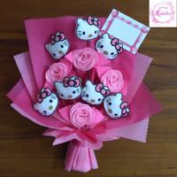 buket bunga flanel handbouquet boneka hello kitty