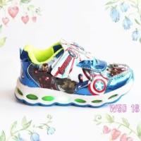 Sepatu Anak Kartun Frozen Superhero Import Murah Lampu LED
