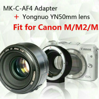 paket lensa yongnuo 50mm dan adapter meike mk-c-af4 for EF to F-M