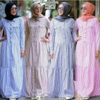 Sean dress - Merah Hati / Baju Gamis Wanita Muslim Salur Dress Murah