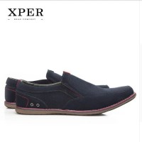 Harga original xper men flats shoes slip on sepatu pria drak blue   antitipu.com