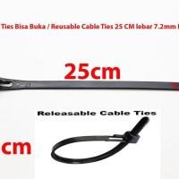 Kabel Ties Bisa Buka 25 CM lebar 7.2mm HITAM / Reusable Cable Ties