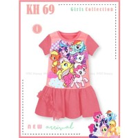 Dress My Little Pony Gaun Anak Warna Pink Katun Baju Terusan Anak Cewe