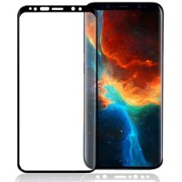 Tempered Glass 3D Curved Full Screen Black Solid HP Samsung S9 Plus