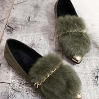 sepatu flat korea import bulu beludru lucu rantai hijau hitam
