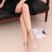 sepatu high heels pesta import gelang boot resleting beludru velvet