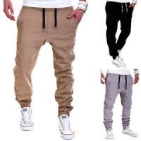 Celana pria Men Fashion Casual Elastic Drawstring Pants Baggy Sweatpan