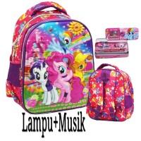 Tas Anak TK Ransel LAMPU + Music Import Little Pony 5D+Kotak Pensil