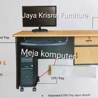 Meja Komputer lengkap tempat Keyboard tray, Cpu tray dan Cable hole