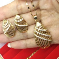 Set Perhiasan Lapis Emas Anti Karat Kalung Anting Giwang Tetes Gold