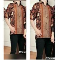 SALE Kemeja Batik Pria, Baju Batik Singket Modern Alvin Coklat
