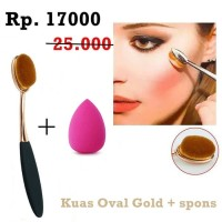 Jual JBS New York makeup brush Set Oval Gold dan Spon beauty K 003 Murah