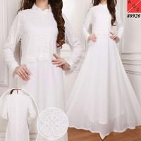 New Baju Gamis Wanita Dewasa Syari Putih Lebaran Umroh Haji Busana Mu