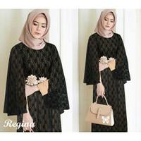 Baju Muslim Wanita Regina Syari Dress Busana Lebaran Warna Hitam
