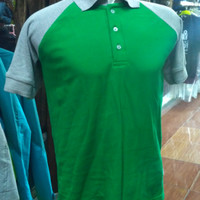 Kaos polo raglan lacos katun hijau abu-abu