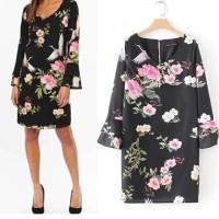IMPORT Flower Bodycon Black Mini Dress Lengan Panjang Hitam Bunga