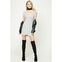 Forever 21 Surplice Wrap Dress - Grey