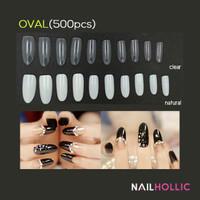 500 pcs oval clear natural fake nail tips / false nail / kuku palsu