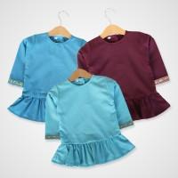 KicauKecil - Hana Top Baju Tunik Anak model peplum,Biru,Ungu,Biru